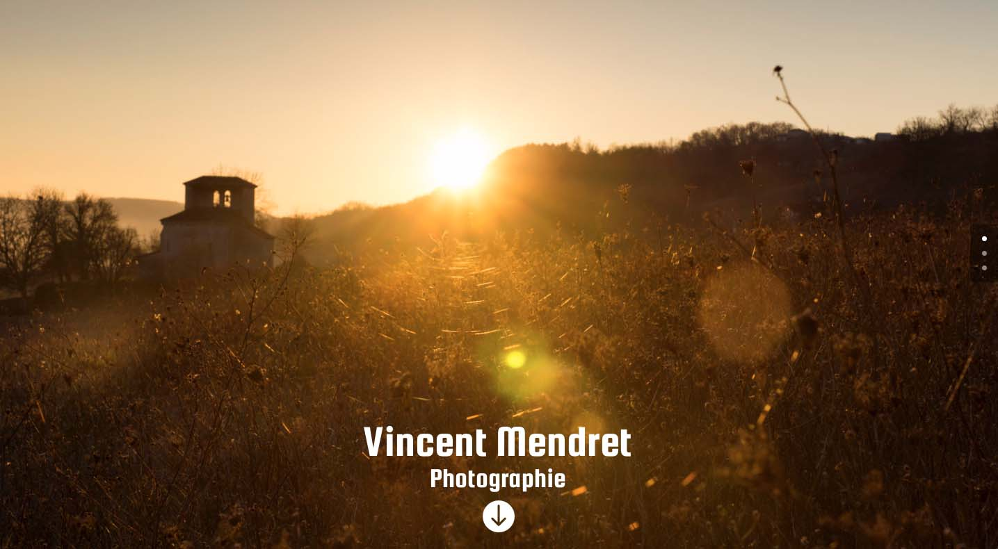 Réalisation site web Vincent Mendret Photographie. Anne-Sophie Lens Graphiste Freelance